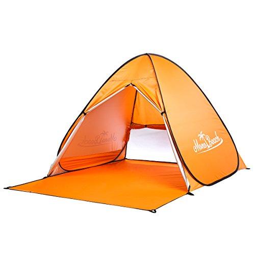 サンシェードテント MonoBeach 2-3人用 ワンタッチテント 軽量 防水 カーテン付き UVカット SPF50+日除けビーチテント アウトドア用品 (オレンジ )