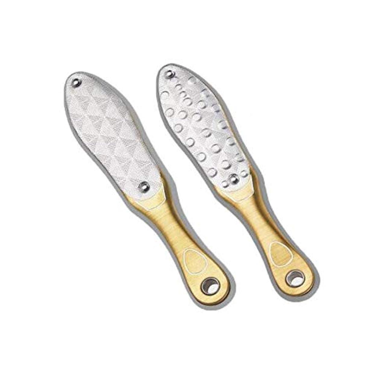 ブレースハックひまわりJielongtongxun 足研削、フットマイクロダーマプロフェッショナルステンレス鋼は、エクスフォリエイティングマイクロダーマブレーションホームフットペディキュアペディキュア、シャンパンをダブル両面 ,足の皮膚の負担を軽減 (Color : Gold, Size : 20*4.5cm)