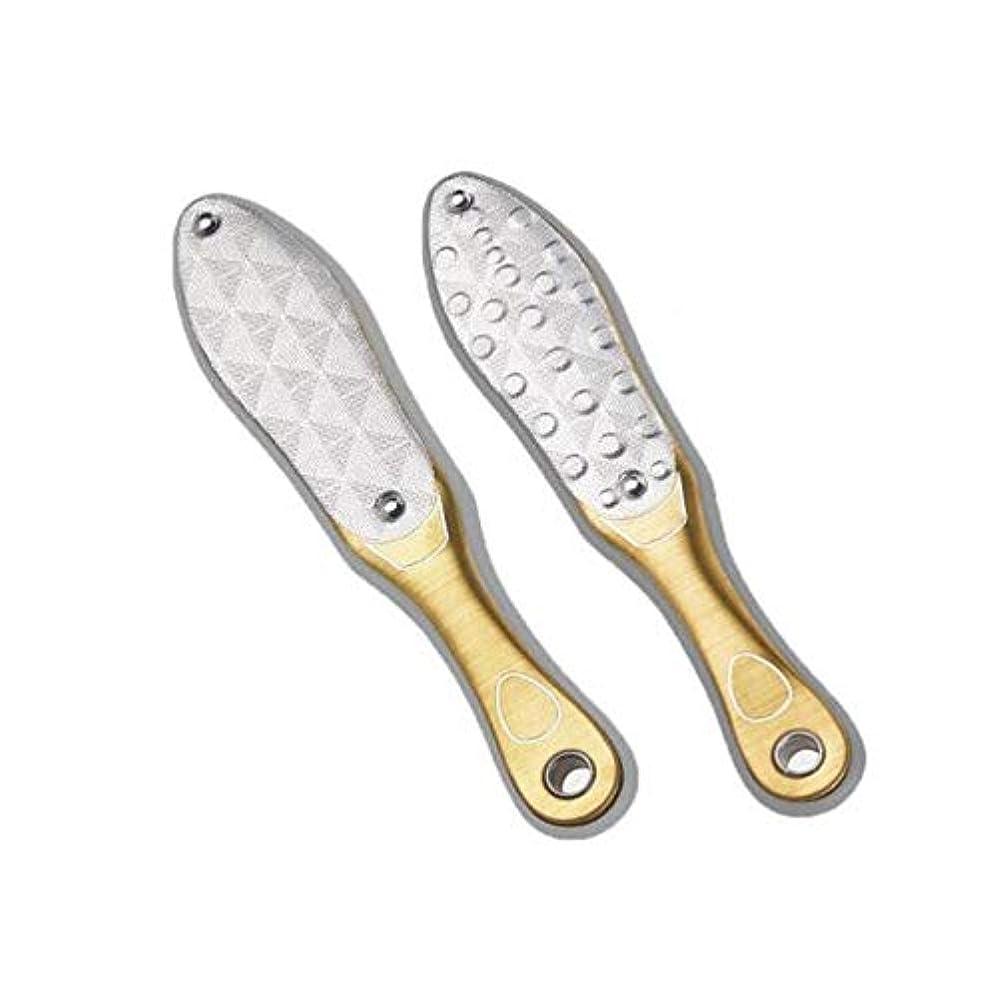 最初にコロニー無関心Youshangshipin 足研削、フットマイクロダーマプロフェッショナルステンレス鋼は、エクスフォリエイティングマイクロダーマブレーションホームフットペディキュアペディキュア、シャンパンをダブル両面 ,扱いやすい (Color : Gold, Size : 20*4.5cm)