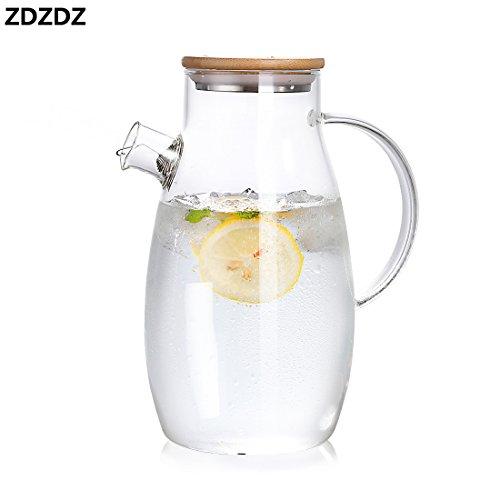 ZDZDZガラスポット 冷水筒 麦茶ポット 夏必須アイテム おしゃれ シンプルデザイン 人と被らない ガラスピッチャー 直火対応 茶濃し付き 落せない竹製蓋 大容量 会社家族用 1.8L