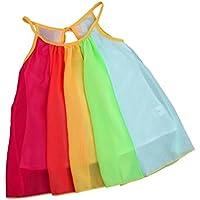 Ankola Girlsドレス、ホットセール夏ガールズビーチレインボードレスガールズノースリーブスリング実行パーティーシフォンチュチュドレス