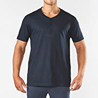 Men's Short Sleeve Henley Cotton Pyjama Tee - Navy