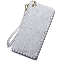Women large Wallet soft leather wristlet Card Organizer Phone holder Ladies Clutch Long Purse with Wrist Strap Zipper around