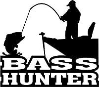 Bass Hunter釣り魚Sportsmanビニールグラフィック車トラックウィンドウデカールステッカー–Die Cut Vinyl Decal for Windows、車、トラック、ツールボックス、ノートパソコン、Macbook–ほぼすべてハード、滑らかな表面