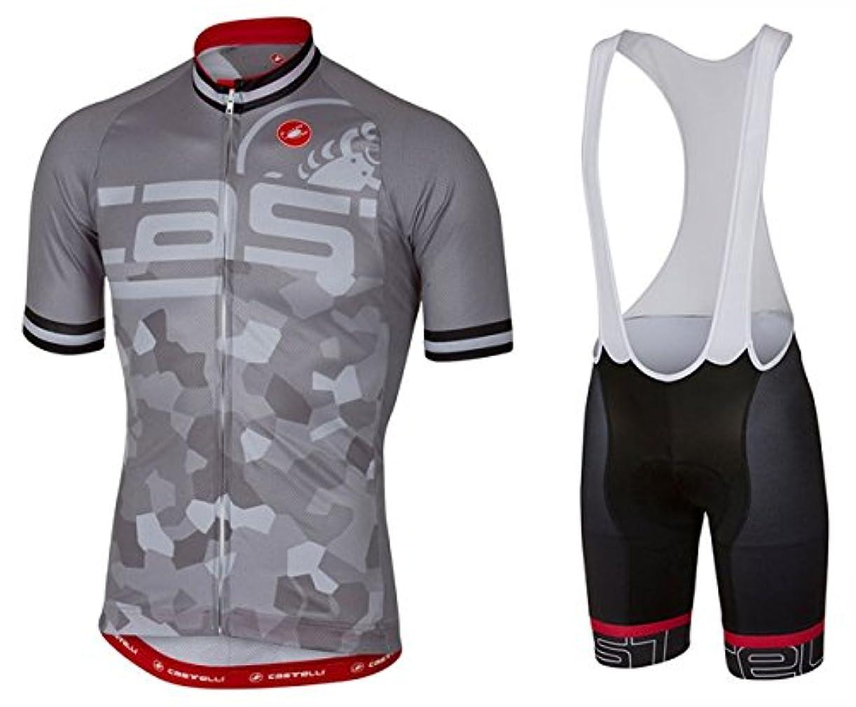 シエスタミル致命的DOKEA サイクルジャージ上下セット/男性用自転車サイクルウェア半袖/吸汗速乾/通気がいい/春夏用上下セッド