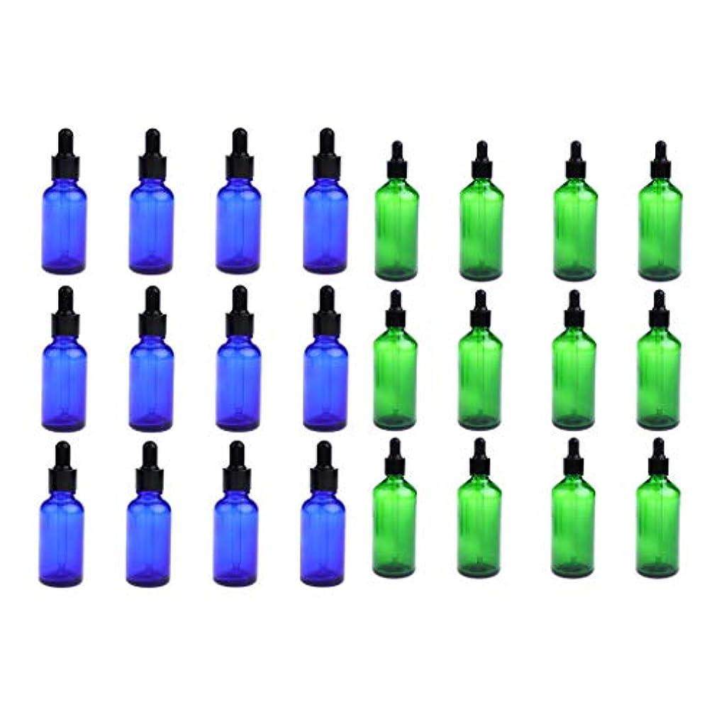酸化するほぼコート24個セット ガラスボトル スポイトボトル 空の瓶 遮光ビン 精油瓶 詰替え 旅行 30ミリ 緑+青