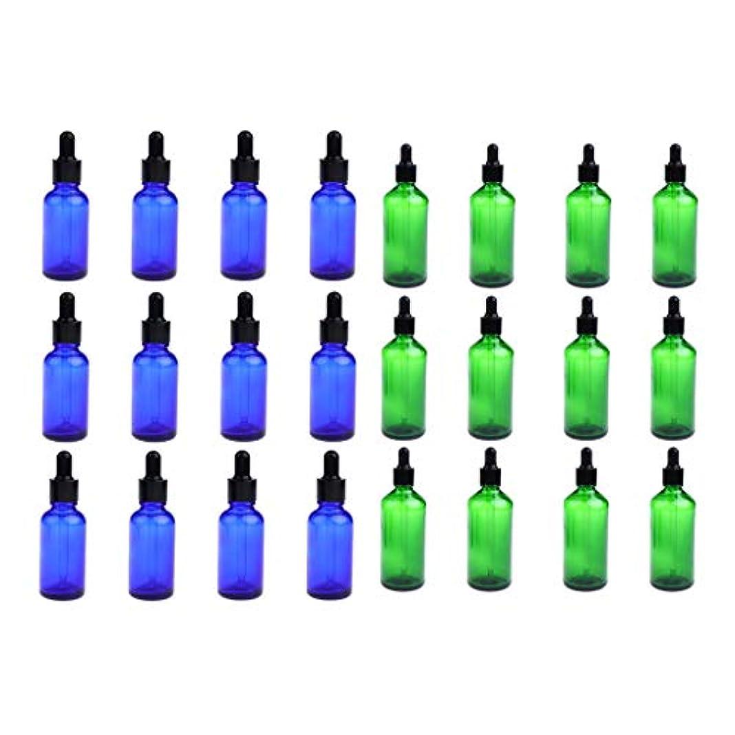 成功交じるフライト24個セット ガラスボトル スポイトボトル 空の瓶 遮光ビン 精油瓶 詰替え 旅行 30ミリ 緑+青
