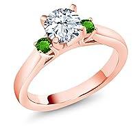 Gem Stone King 1.78カラット ジルコニア (無色透明) シミュレイテッド ツァボライト (グリーンガーネット) シルバー925 ピンクゴールドコーティング 指輪 リング