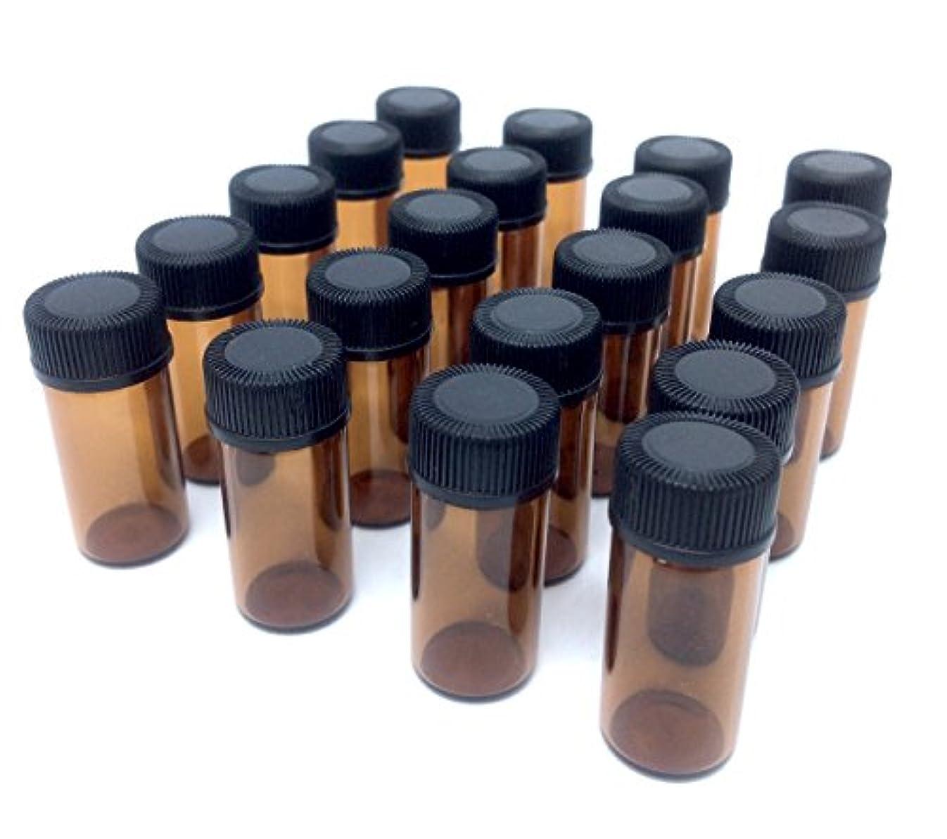 表向き電気技師バーアロマオイル 遮光瓶 精油 小分け用 ガラス製 保存容器 20本 セット (3ml)