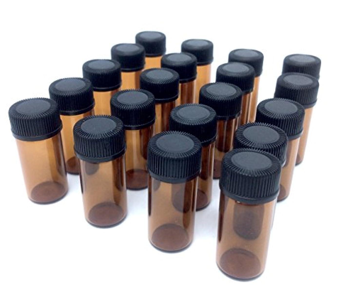 民族主義ショット砲撃アロマオイル 遮光瓶 精油 小分け用 ガラス製 保存容器 20本 セット (3ml)