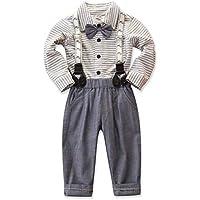 Camidy Toddler Kids Boys Gentleman Bow Tie Stripe Shirt + Suspenders Pants Clothes Set
