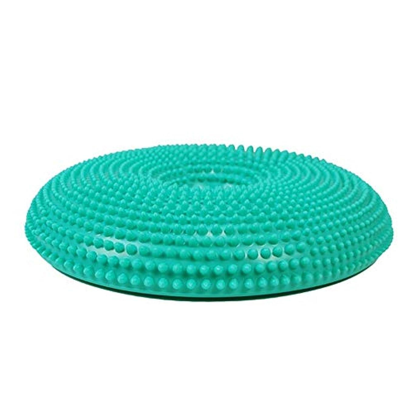 排除する暴力的なリフレッシュバランスディスク PVCヨガバランスパッドマッサージクッションバランスプレートインフレータブルクッションヨガ用品 エクササイズバランス安定トレーナー (色 : 緑, サイズ : ワンサイズ)