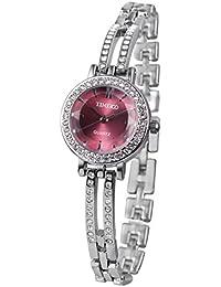 Time100 ダイヤモンド付き スケルトンバンド 30M防水 腕時計 ブレスレット レディース W50281L (紫赤色)