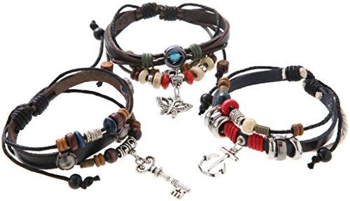 [해외]Phoenix 복고풍 느낌 PU 가죽 팔찌 3 개 세트 골동품 에스닉 아시안 브레스 ph-0331/Phoenix Retro feeling PU leather bracelet 3 pieces Antique ethnic Asian bracelet ph-0331