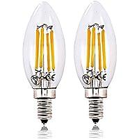 LED電球 シャンデリア電球 E12口金 6W 60W形相当 調光対応 昼白色6000K 全方向タイプ 蝋燭水雷型 C35 クリア電球タイプ アンティーク電球(2個入り)