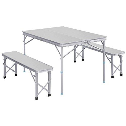 FIELDOOR 収納式アルミレジャーテーブル 大判 アルミ調 シルバー 幅110×奥行80×高さ70cm ベンチ分離タイプ