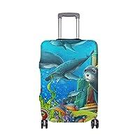 スーツケースカバー タコ 海 動物 伸縮素材 保護カバー 紛失キズ 保護 汚れ 卒業旅行 旅行用品 トランクカバー 洗える ファスナー 荷物ケースカバー 個性的