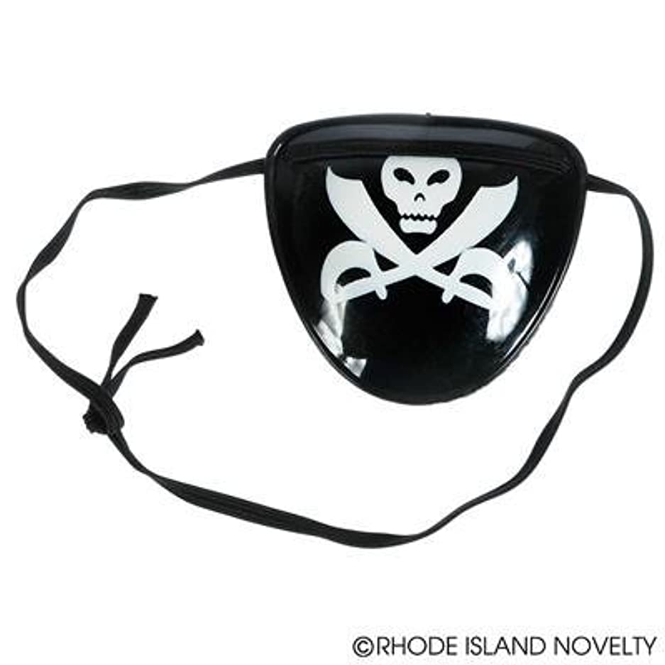 (24) PIRATE EYE PATCHES ~ 2 Dozen 3'' Plastic Skull Eye Patches ~ Fun for Pirate Themed Parties ~ Halloween ~ Dress up ~