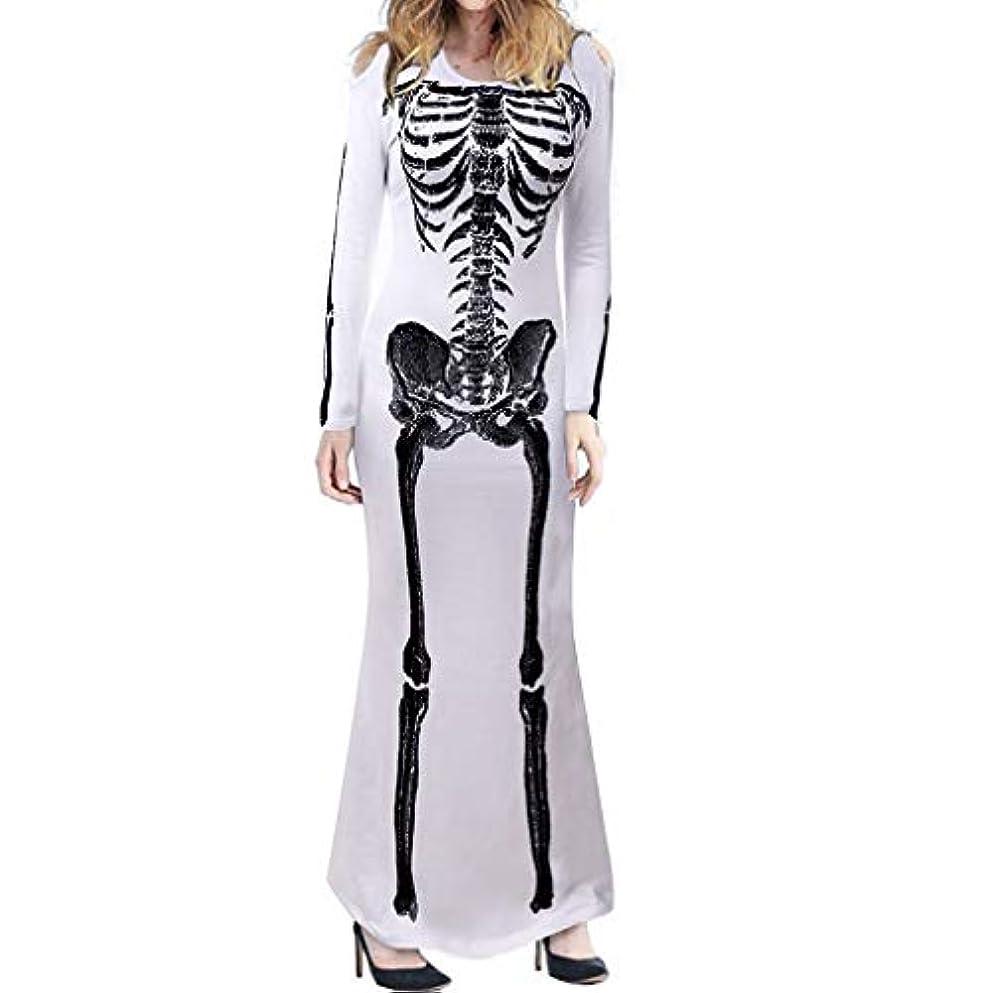 飾る自宅でレンコス(lemcos)ハロウィン コスプレ 骸骨 コスチューム ゾンビ魔女 ロング ドレス ハロウイン 文化祭 women cosplay costume skeleton dress