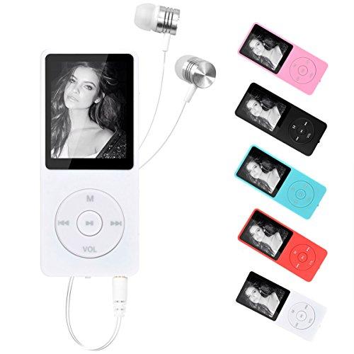 GuFan MP3プレーヤー 容量8GB 小型 MP4プレーヤー 音楽再生70時間 FMラジオ機能搭載 イヤホン付属 (マイクロSDカード64GBに対応) (ホワイト)