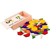 Halffle 子供用パズル マルチカラー 木製パターンブロック DIYパズルおもちゃ 木製ボックス付き 幼児 赤ちゃん 子供用 屋内遊び 60個
