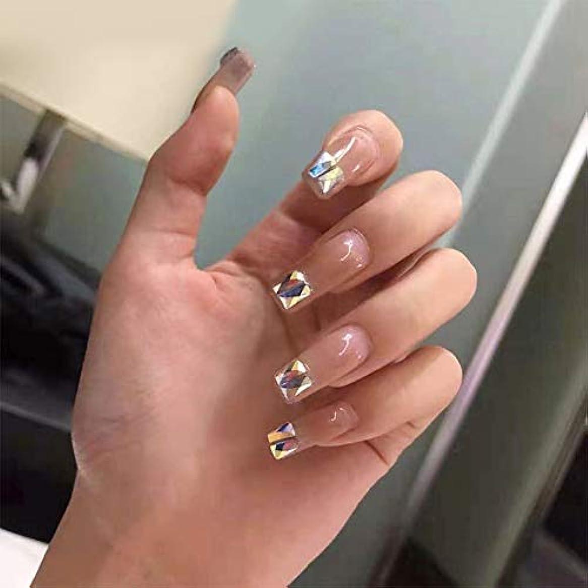 命令卵啓発するXUTXZKA 美しい純粋な色のダイヤモンド偽の爪花嫁フル爪のヒント女性装飾爪