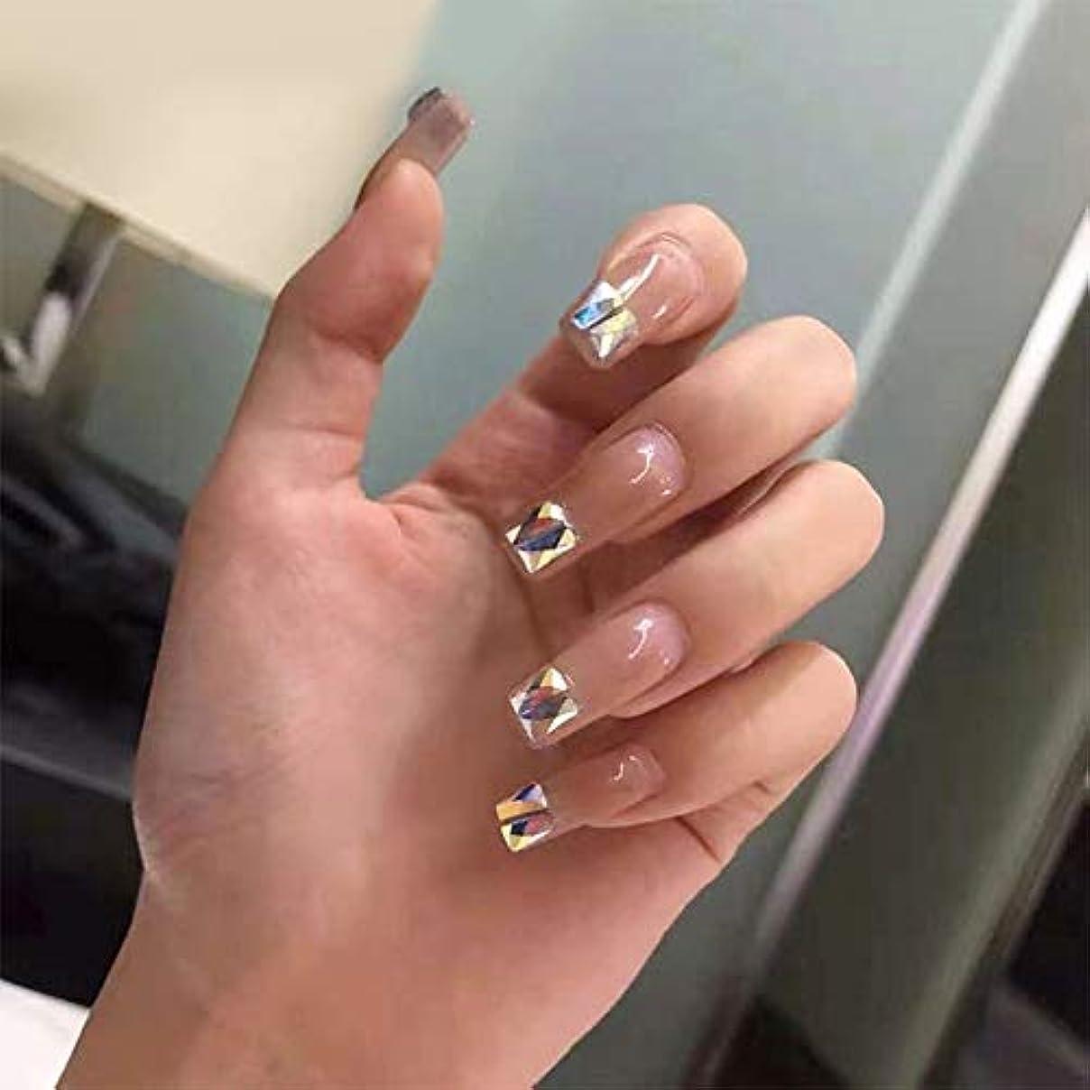 ゲストミュート関係ないXUTXZKA 美しい純粋な色のダイヤモンド偽の爪花嫁フル爪のヒント女性装飾爪
