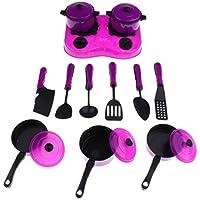 Perfeclan プラスチック製 キッチン 調理器具おもちゃ ごっこ遊び 子ども 料理おもちゃ 12点 - 紫の, 説明したように
