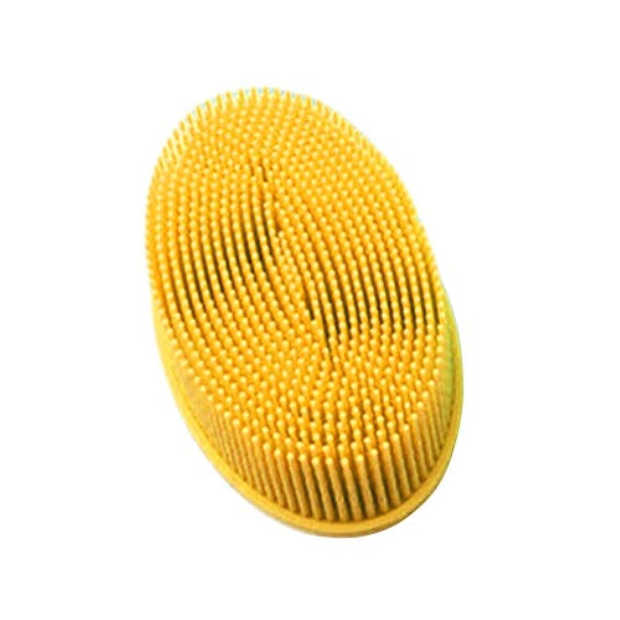 TOPBATHY シリコンシャワーブラシ 頭皮 洗顔 ボディブラシ お風呂 柔らかい 体洗いブラシ 肌にやさしい 多機能 角質除去 疲れ解消(イエロー)