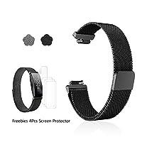 Frgnie Compatible フィットビットFitbit inspire/Fitbit inspire HR 時計バンド, ミラノステンレス鋼フル磁気クローズドグリッド交換ベルト (140mm ~ 230mm, 黒)