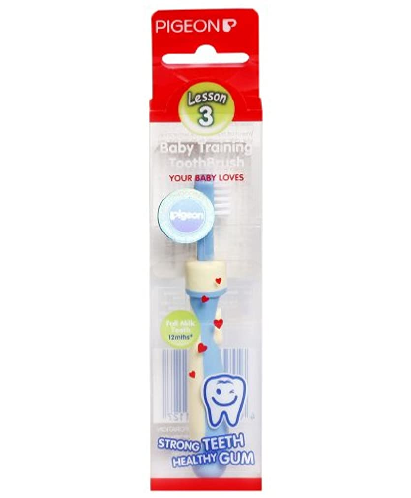 限られた制限公式Pigeon Baby Training Toothbrush Lesson 3 Blue 12 months+ by Pigeon