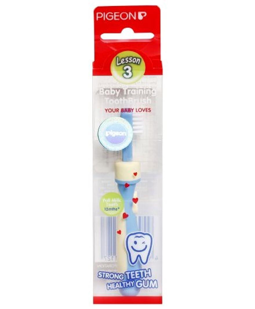 インポート予見する中性Pigeon Baby Training Toothbrush Lesson 3 Blue 12 months+ by Pigeon