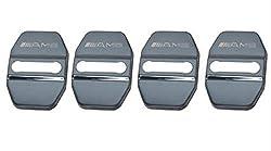 【SW】重層感 Mercedes Benz AMG Smart メルセデス ベンツ ロゴ新型 鏡面ステンレス ストライカーカバー 4個セット Aクラス W176 CLAクラス C117 Cクラス W205 GLAクラス X156 ブラック 黒