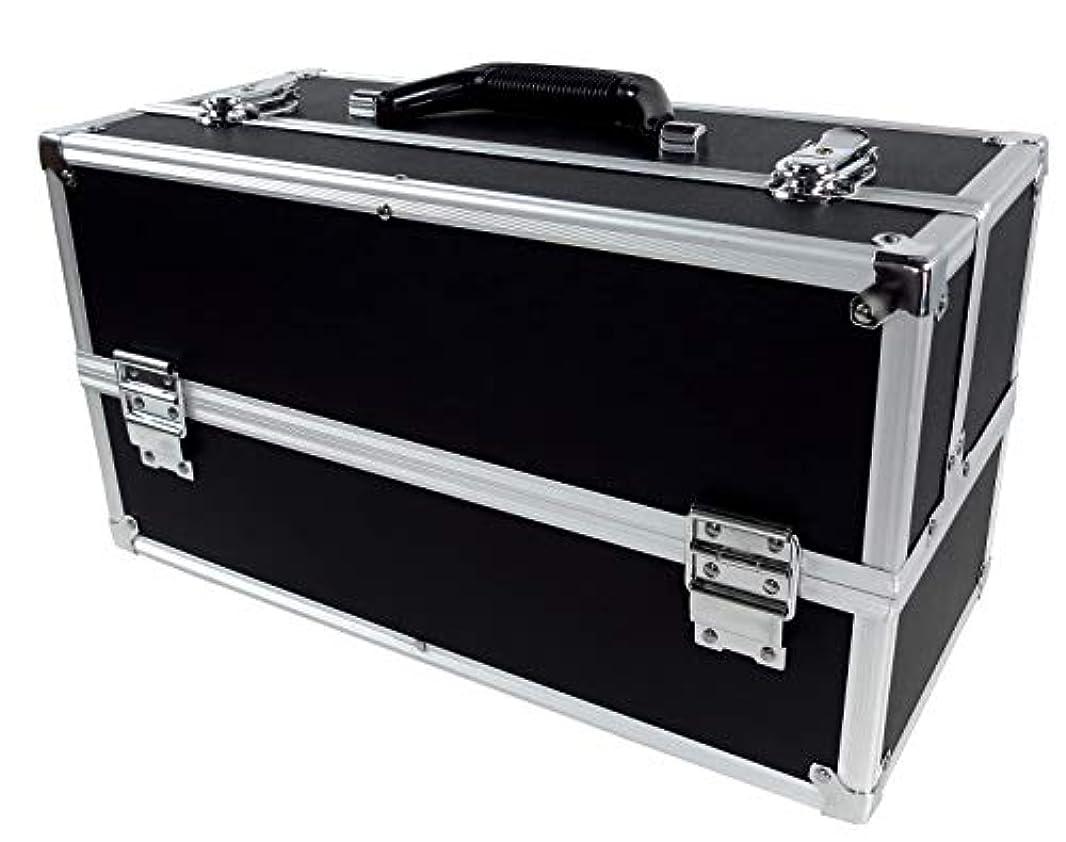 ウィンク味付けバルブリライアブル コスメボックス ワイド RB201-BK 鍵付き プロ仕様 メイクボックス 大容量 化粧品収納 小物入れ 6段トレー ベロア メイクケース コスメBOX 持ち運び ネイルケース