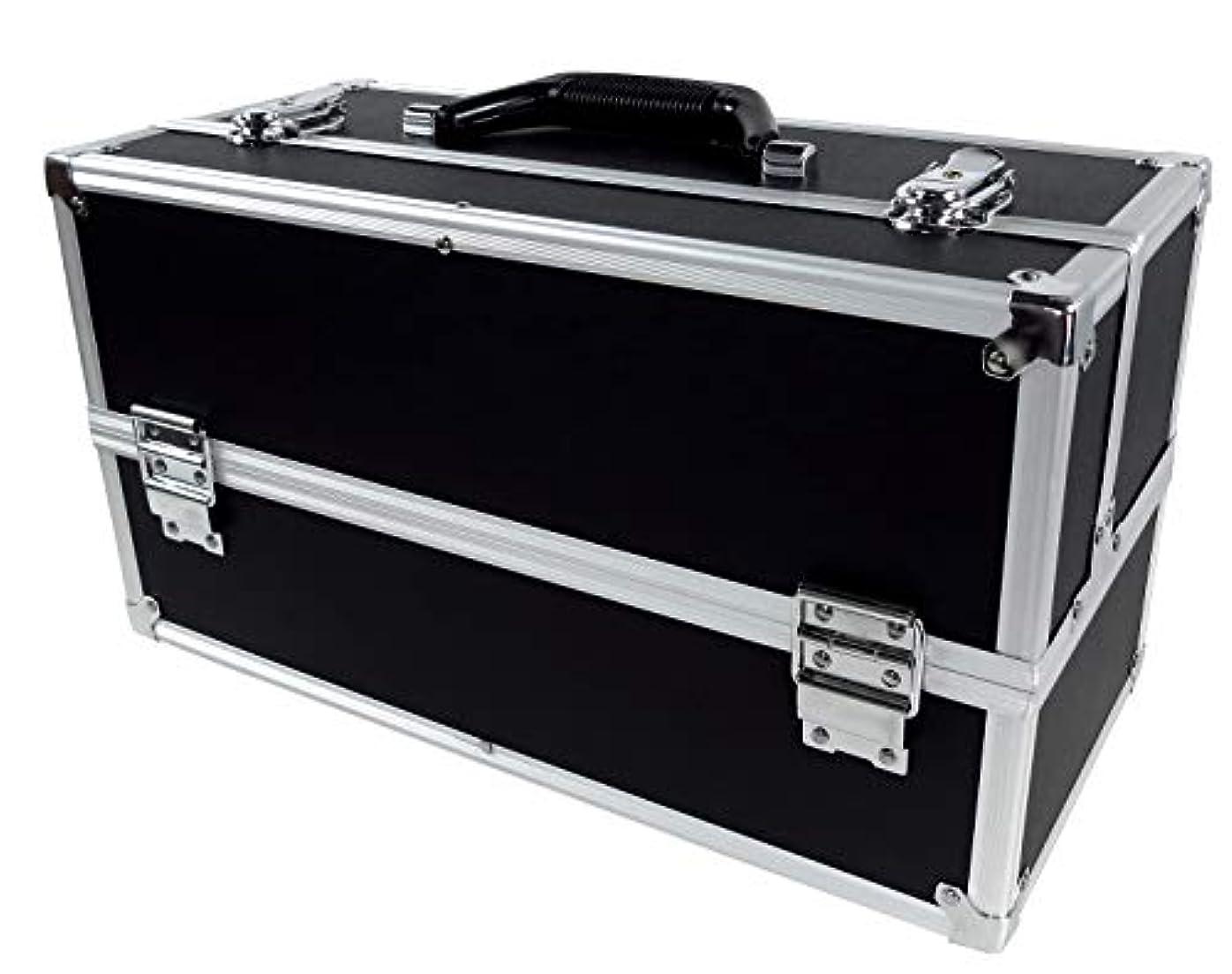学者優しさご予約リライアブル コスメボックス ワイド RB201-BK 鍵付き プロ仕様 メイクボックス 大容量 化粧品収納 小物入れ 6段トレー ベロア メイクケース コスメBOX 持ち運び ネイルケース