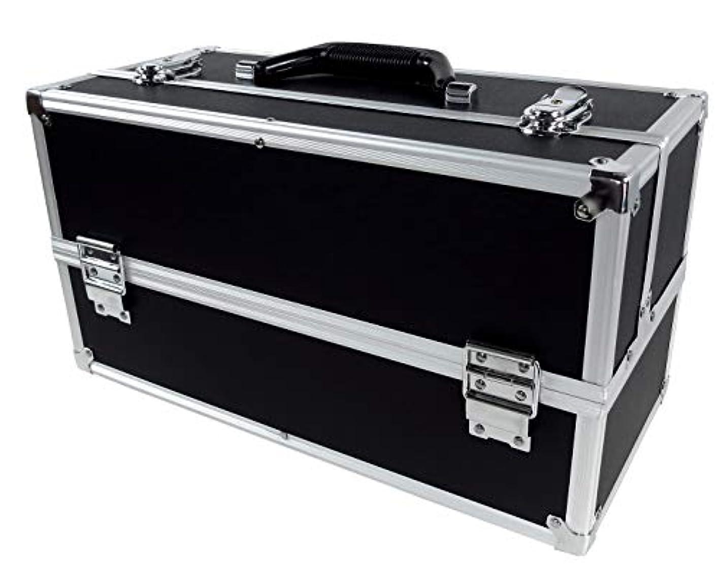 聖歌ロンドンくすぐったいリライアブル コスメボックス ワイド RB201-BK 鍵付き プロ仕様 メイクボックス 大容量 化粧品収納 小物入れ 6段トレー ベロア メイクケース コスメBOX 持ち運び ネイルケース