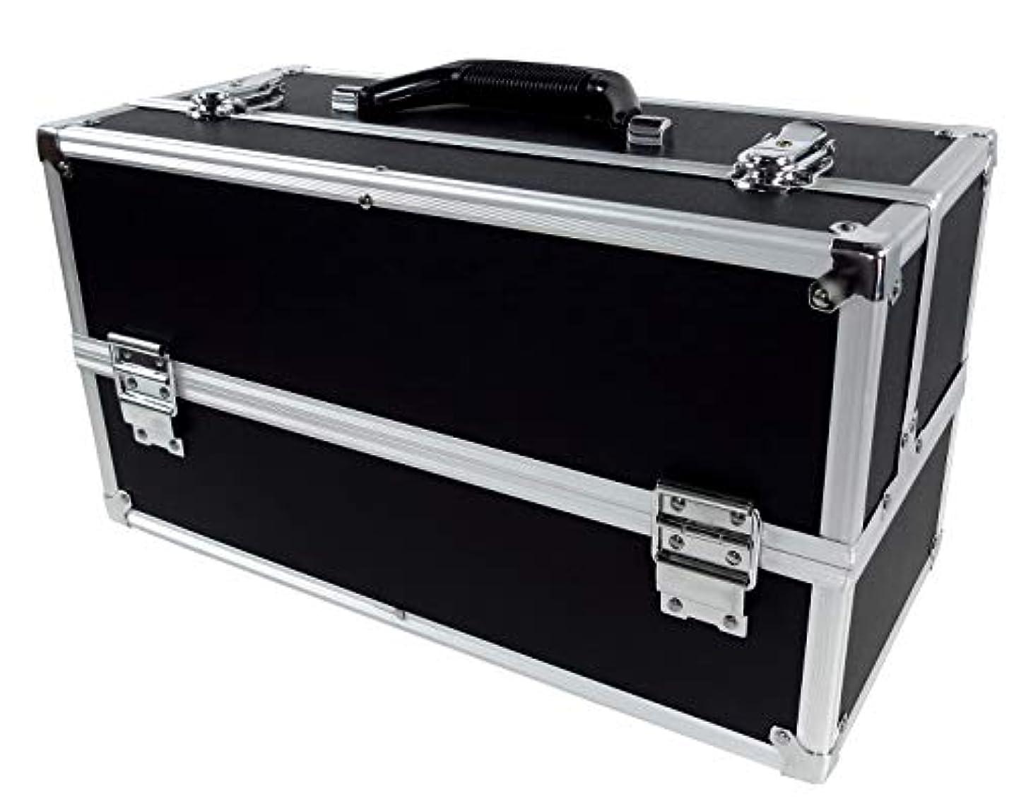 リライアブル コスメボックス ワイド RB201-BK 鍵付き プロ仕様 メイクボックス 大容量 化粧品収納 小物入れ 6段トレー ベロア メイクケース コスメBOX 持ち運び ネイルケース