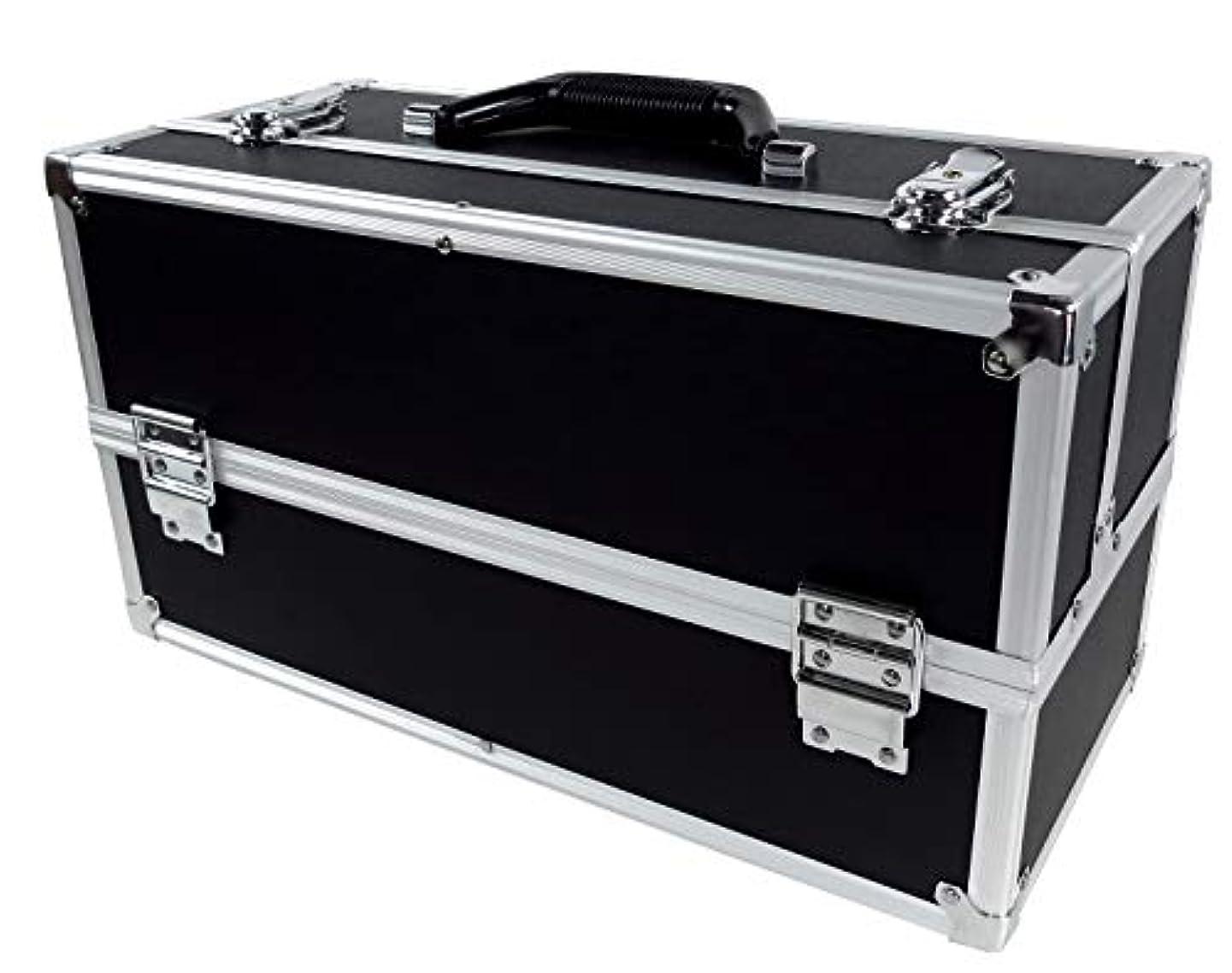 雑品神聖テントリライアブル コスメボックス ワイド RB201-BK 鍵付き プロ仕様 メイクボックス 大容量 化粧品収納 小物入れ 6段トレー ベロア メイクケース コスメBOX 持ち運び ネイルケース