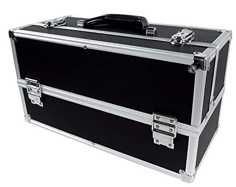 アボート分析的スカートリライアブル コスメボックス ワイド RB201-BK 鍵付き プロ仕様 メイクボックス 大容量 化粧品収納 小物入れ 6段トレー ベロア メイクケース コスメBOX 持ち運び ネイルケース