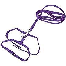 SODIAL Leash collar + ADJUSTABLE NYLON HARNESS FOR CAT KITTEN Length 1.2m - Purple