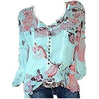 Morbuy Women's Casual Sweatshirt, Fashion Ladies V-Neck Button Chiffon Tops Crewneck Blouse Long Sleeve Sport T-Shirt Pullover Hoodie Without Hood Clothes