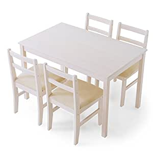 LOWYA ダイニングセット ダイニングテーブル 5点セット パイン無垢材 天然木 ファブリック 4人掛け ホワイト おしゃれ 新生活