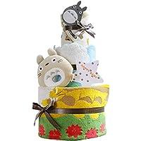 となりのトトロ おむつケーキ 出産祝い 名入れ刺繍 3段 オムツケーキ 男の子 女の子 スタジオジブリ (パンパースはじめての肌へのいちばん(テープタイプMサイズ))