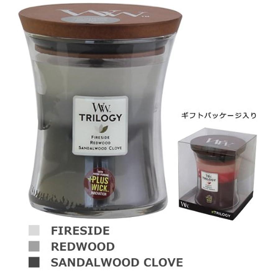 ホイール副産物晩餐Wood Wick ウッドウィック トリロジージャーキャンドルMサイズ  ウォームウッズ