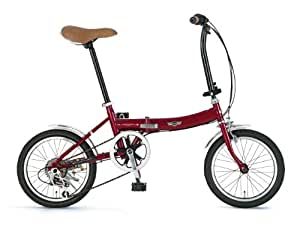 MINI(ミニ) 16インチシマノ6段変速折りたたみ自転車[前後フェンダー/グリップシフト標準装備] レッド MINI FDB166