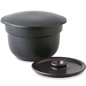 直火・電子レンジOK! 有田焼 おひつ炊飯鍋(2合炊・1100cc)ブラック
