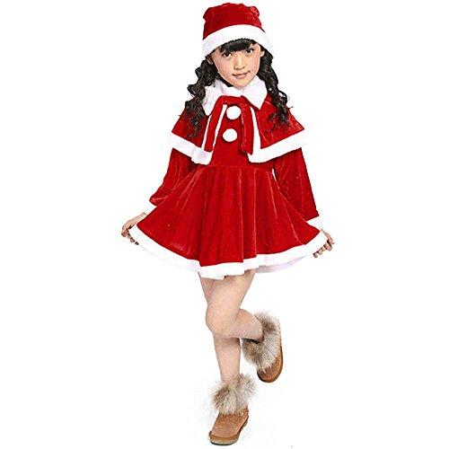 子供服 Plojuxi ワンピース 女の子 ドレス クリスマス衣装 コスプレ仮装 キッズ サンタ ドレス+マント+帽子 三点セット ふわふわ スカート 変装 サンタクロース コスチューム プリンセス 洋服 誕生日 パーティー 発表会 クリスマス プレゼント