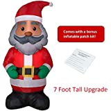 African American Black Santa, Christmas and Holiday Yard Inflatable, Indoor/Outdoor with Bonus Inflatable Repair Patch Kit (7 Foot)