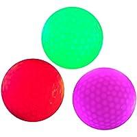 WINOMO 発光 ゴルフボール LED内蔵 光る ゴルフボール 夜間スポーツに ゴルフ連絡用ボール 3個セット