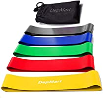 DepMart Resistance Bands - Set of 5 Rubber Latex Exercise Bands, Resistance Loops Workout Fitness Band for Physical...